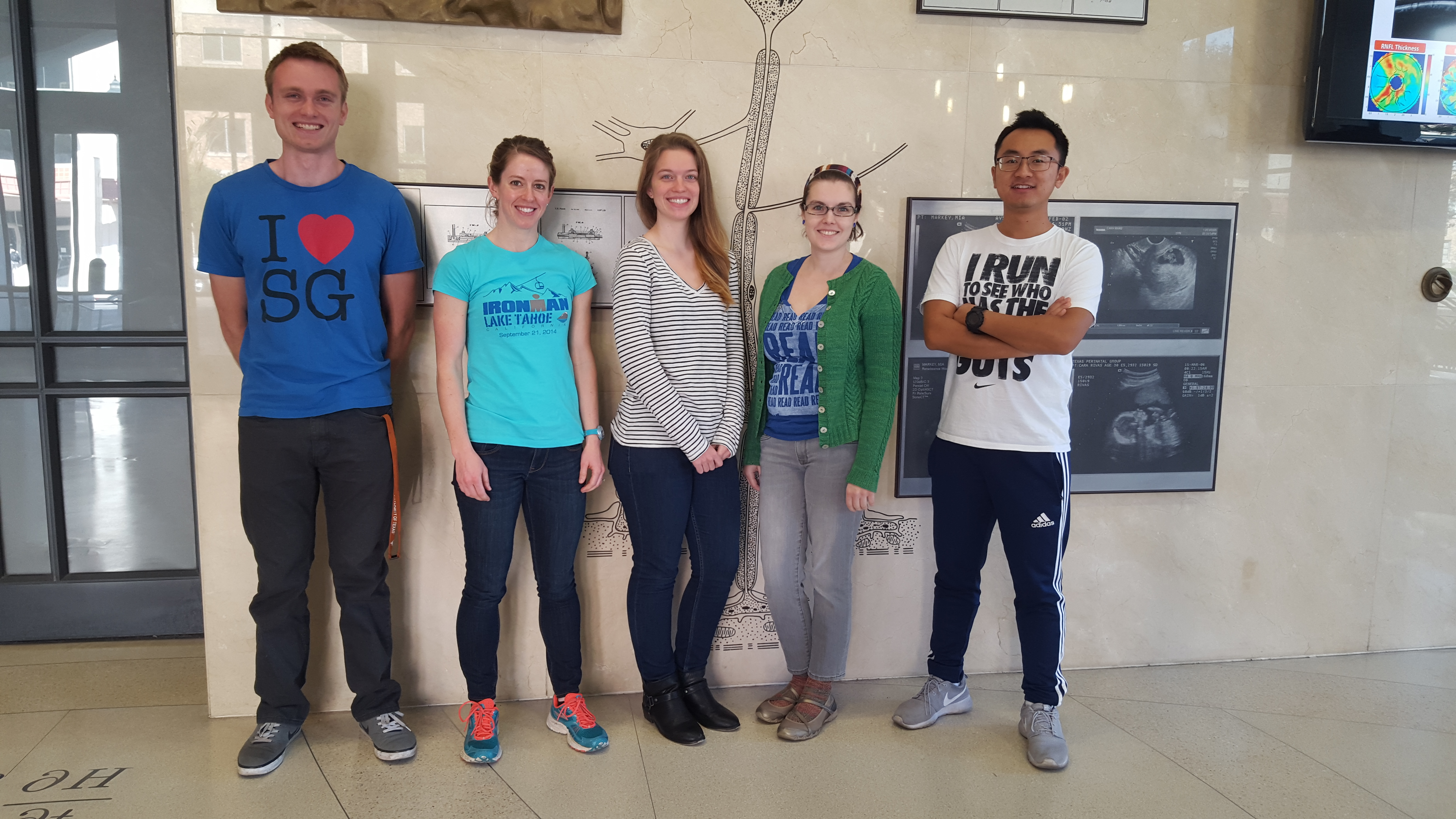 The current Zoldan Lab. From left to right: Cody Crosby (1st year), Alicia Allen (3rd year), Julie Strickland (1st year), Alysa Joaquin (3rd year), and Chengyi Tu (3rd year)